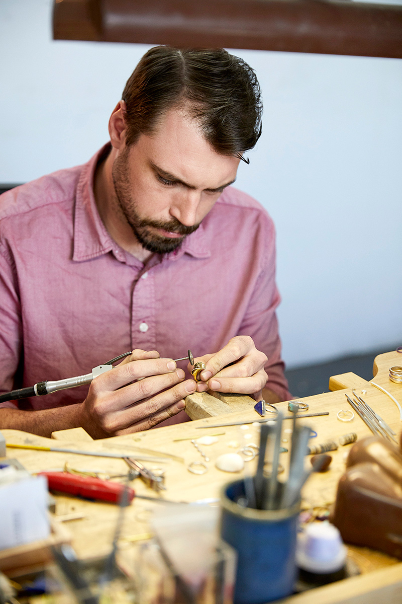 Nick Lundeen from Quinn, Jeweler, At his studio, 1027 Grand, Brooklyn NY